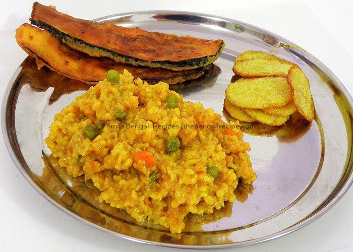 traditional authentic east indian or bengali recipe, bhoger khichuri ...