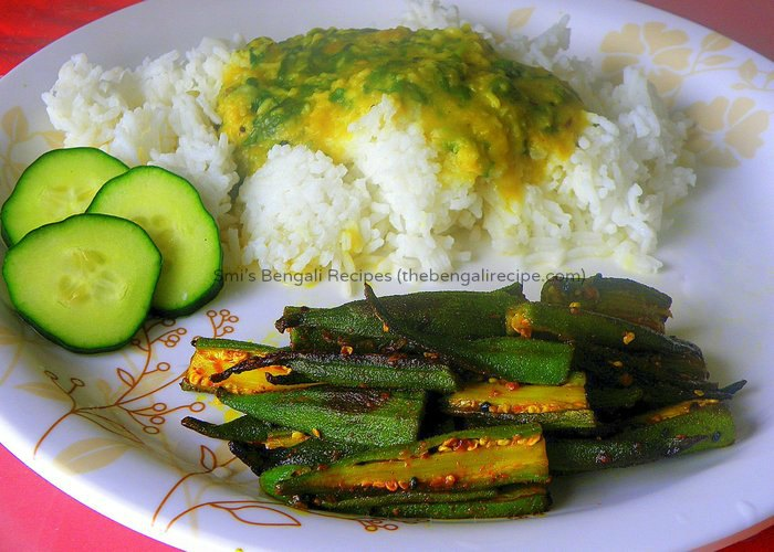 Fried bhindi vegetarian recipes all recipes bengali vegetarian niramish recipe of fried bhindi or dhaarosh bhaja bengali fried okra recipe with forumfinder Image collections